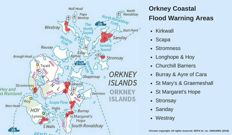 Orkney Coastal Flood Warning Area map